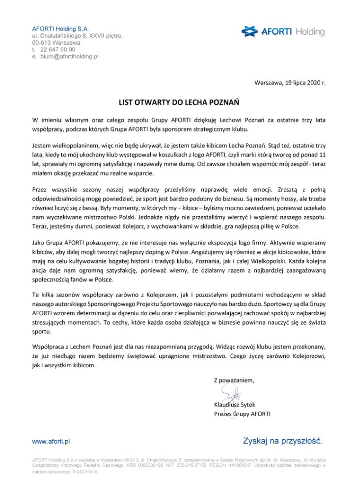 List otwarty do Lecha Poznan
